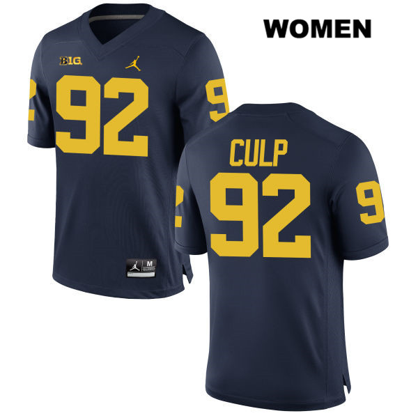 Womens no. 92 Jordan Michigan Wolverines Navy Stitched Adam Culp Authentic College Football Jersey - Adam Culp Jersey