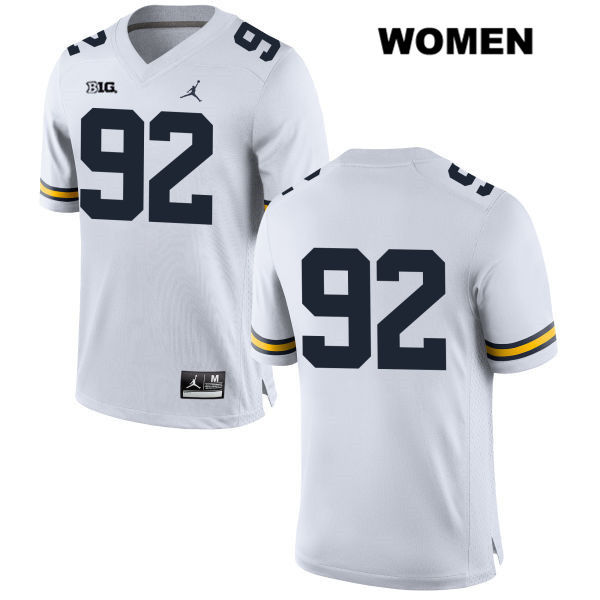 Womens no. 92 Michigan Wolverines White Stitched Adam Culp Jordan Authentic College Football Jersey - No Name - Adam Culp Jersey