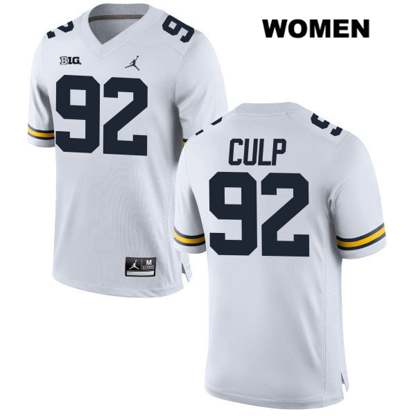 Stitched Womens no. 92 Michigan Wolverines White Jordan Adam Culp Authentic College Football Jersey - Adam Culp Jersey