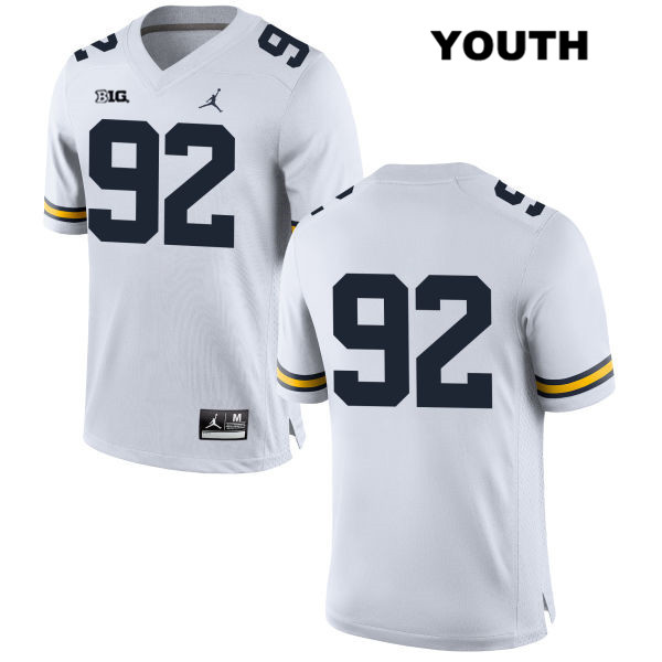 Youth no. 92 Stitched Michigan Wolverines Jordan White Adam Culp Authentic College Football Jersey - No Name - Adam Culp Jersey