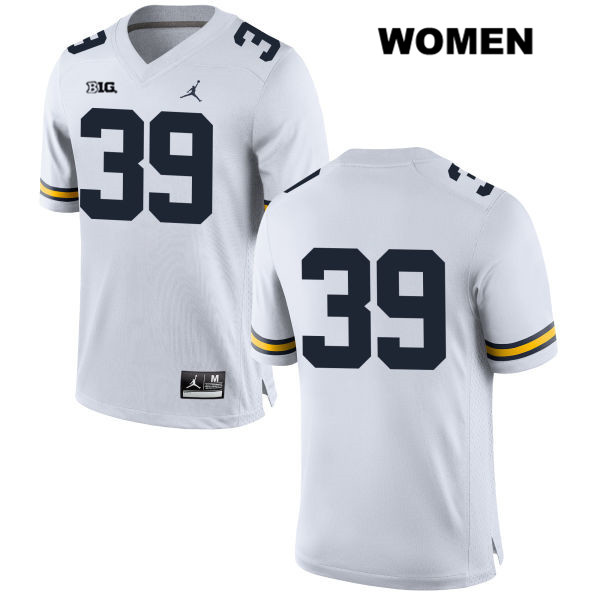 Stitched Womens no. 39 Michigan Wolverines White Alan Selzer Jordan Authentic College Football Jersey - No Name - Alan Selzer Jersey