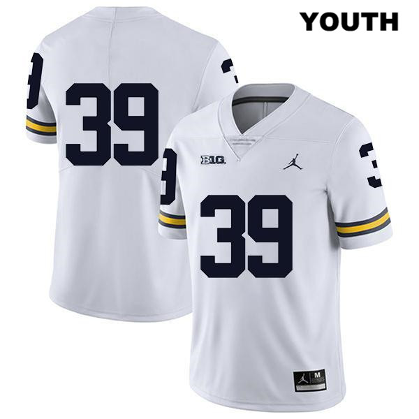 Youth Stitched no. 39 Jordan Legend Michigan Wolverines White Alan Selzer Authentic College Football Jersey - No Name - Alan Selzer Jersey