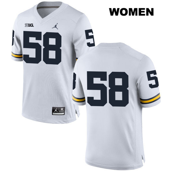 Womens no. 58 Michigan Wolverines Stitched White Jordan Alex Kaminski Authentic College Football Jersey - No Name - Alex Kaminski Jersey