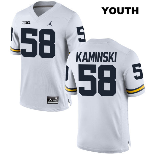 Stitched Youth Jordan no. 58 Michigan Wolverines White Alex Kaminski Authentic College Football Jersey - Alex Kaminski Jersey