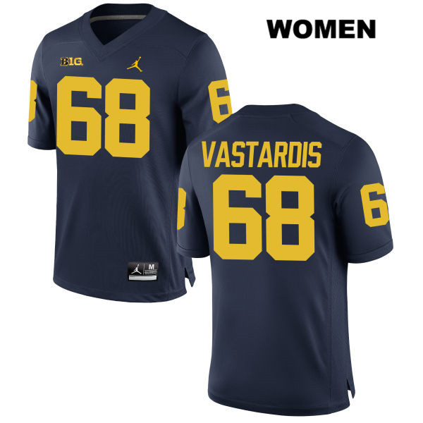 Stitched Womens no. 68 Michigan Wolverines Navy Jordan Andrew Vastardis Authentic College Football Jersey - Andrew Vastardis Navy Jersey