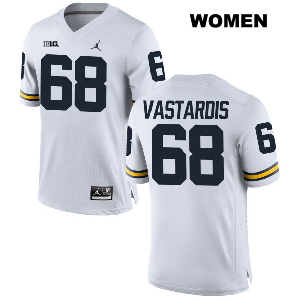 Womens Stitched no. 68 Michigan Wolverines White Andrew Vastardis Jordan Authentic College Football Jersey - Andrew Vastardis Jersey