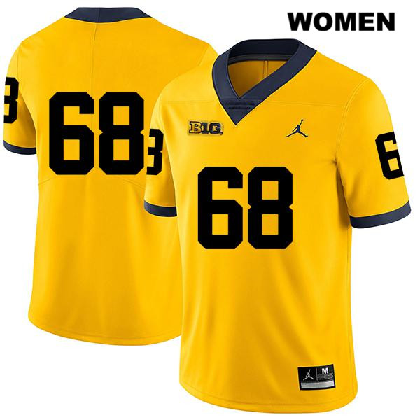 Legend Womens Stitched no. 68 Michigan Wolverines Jordan Yellow Andrew Vastardis Authentic College Football Jersey - No Name - Andrew Vastardis Jersey