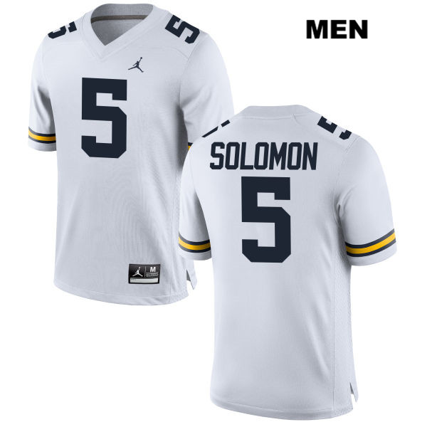 Mens Jordan no. 5 Michigan Wolverines White Stitched Aubrey Solomon Authentic College Football Jersey - Aubrey Solomon Jersey