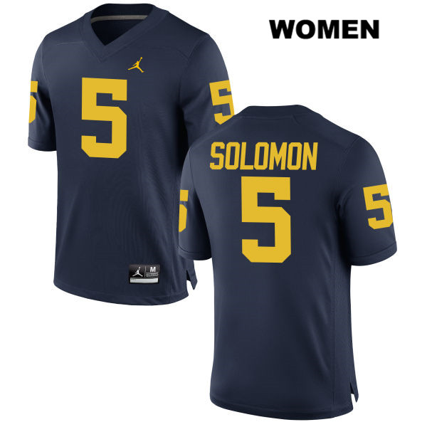 Stitched Womens Jordan no. 5 Michigan Wolverines Navy Aubrey Solomon Authentic College Football Jersey - Aubrey Solomon Jersey