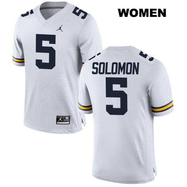 Womens Stitched no. 5 Michigan Wolverines White Aubrey Solomon Jordan Authentic College Football Jersey - Aubrey Solomon Jersey