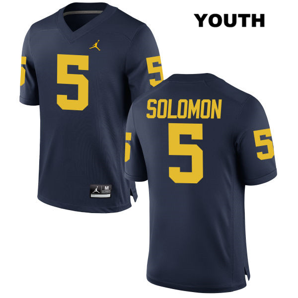 Youth no. 5 Michigan Wolverines Stitched Navy Jordan Aubrey Solomon Authentic College Football Jersey - Aubrey Solomon Jersey