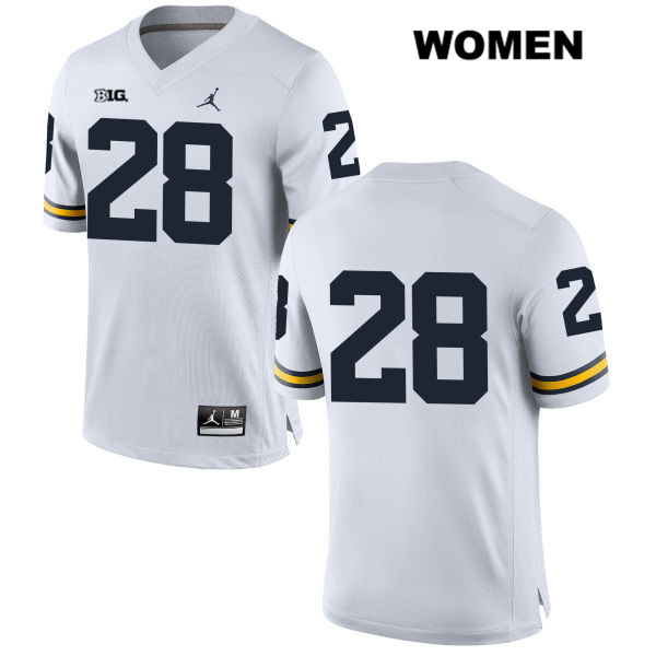 Womens no. 28 Michigan Wolverines Stitched White Jordan Austin Brenner Authentic College Football Jersey - No Name - Austin Brenner Jersey