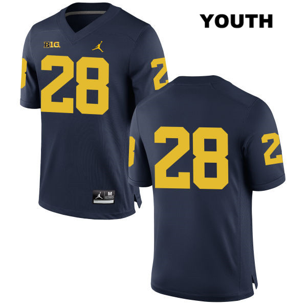 Youth Stitched no. 28 Michigan Wolverines Navy Jordan Austin Brenner Authentic College Football Jersey - No Name - Austin Brenner Jersey