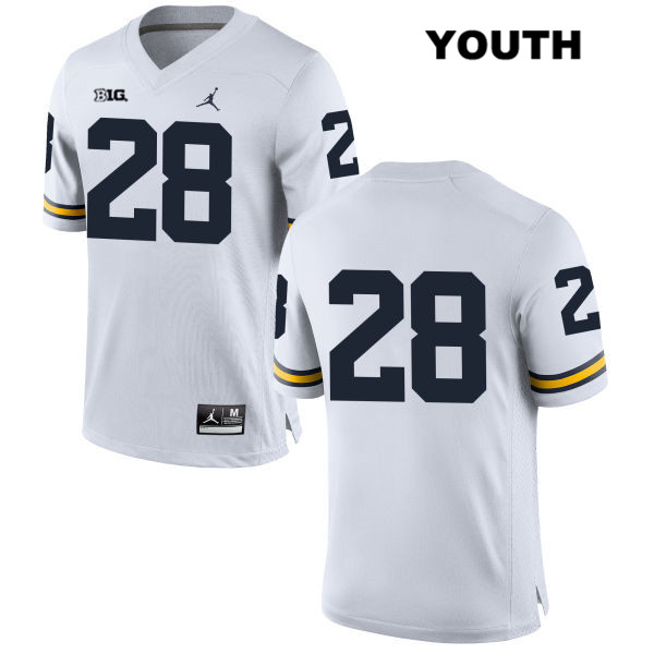 Youth no. 28 Stitched Michigan Wolverines Jordan White Austin Brenner Authentic College Football Jersey - No Name - Austin Brenner Jersey