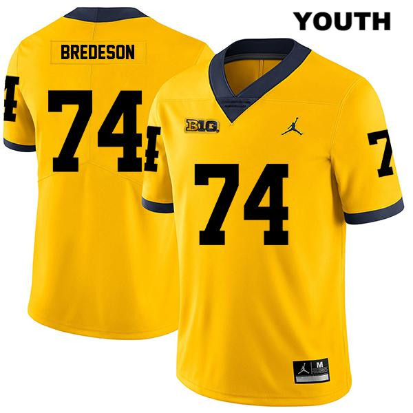 Jordan Youth no. 74 Michigan Wolverines Yellow Stitched Ben Bredeson Legend Authentic College Football Jersey