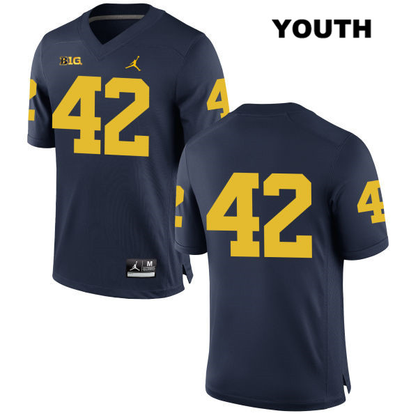 Youth no. 42 Stitched Michigan Wolverines Navy Ben Gedeon Jordan Authentic College Football Jersey - No Name - Ben Gedeon Jersey