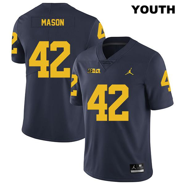Youth Stitched Legend no. 42 Michigan Wolverines Navy Jordan Ben Mason Authentic College Football Jersey