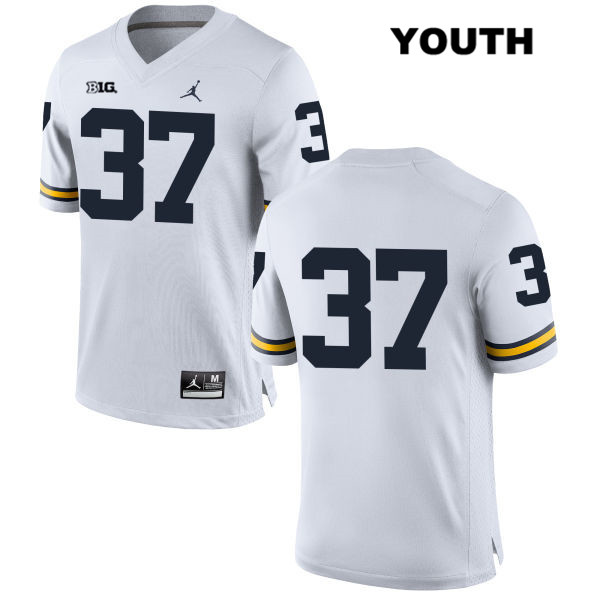 Youth Stitched no. 37 Michigan Wolverines White Jordan Bobby Henderson Authentic College Football Jersey - No Name - Bobby Henderson Jersey