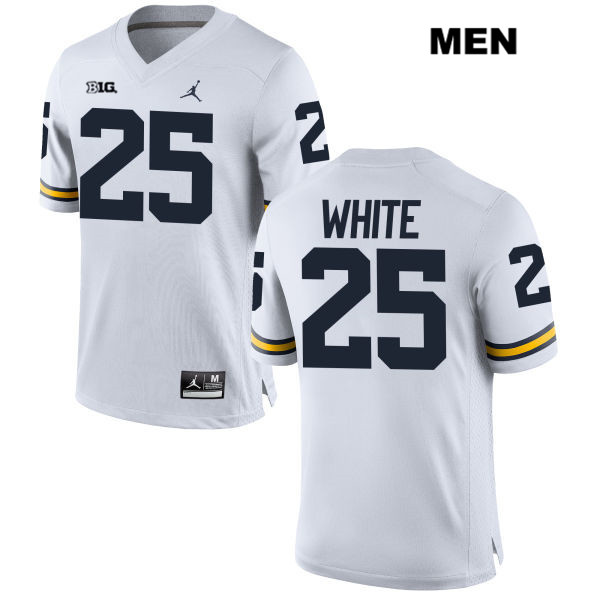 Stitched Mens no. 25 Michigan Wolverines White Jordan Brendan White Authentic College Football Jersey - Brendan White Jersey