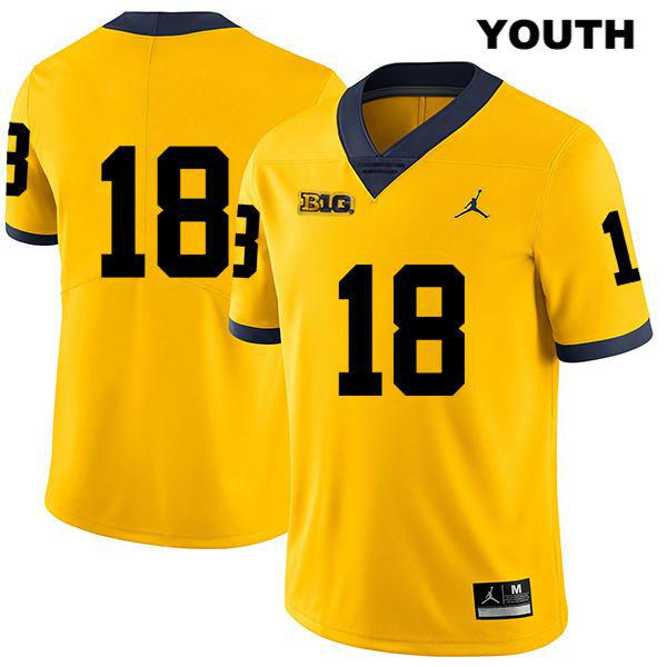 Youth Stitched Jordan no. 18 Michigan Wolverines Yellow Legend Brendan White Authentic College Football Jersey - No Name - Brendan White Jersey