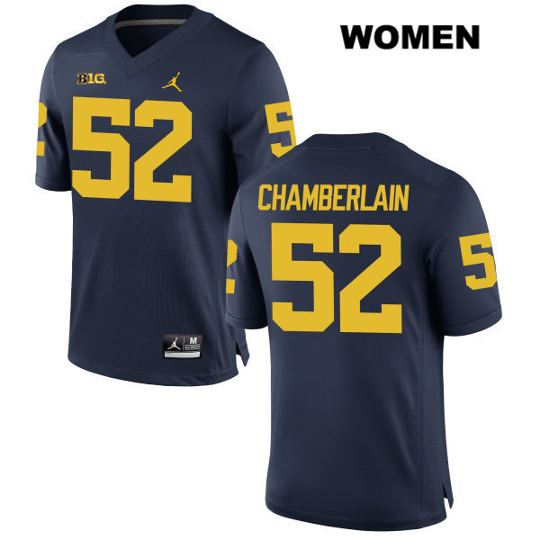 Womens no. 52 Jordan Michigan Wolverines Navy Stitched Bryce Chamberlain Authentic College Football Jersey - Bryce Chamberlain Jersey
