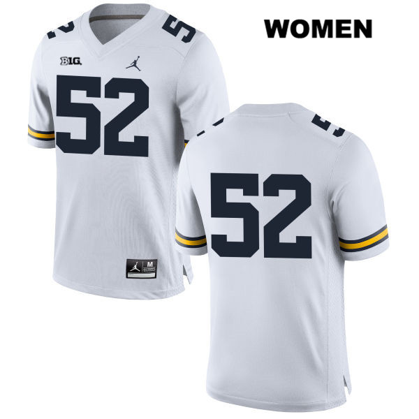 Womens no. 52 Michigan Wolverines Stitched Jordan White Bryce Chamberlain Authentic College Football Jersey - No Name - Bryce Chamberlain Jersey