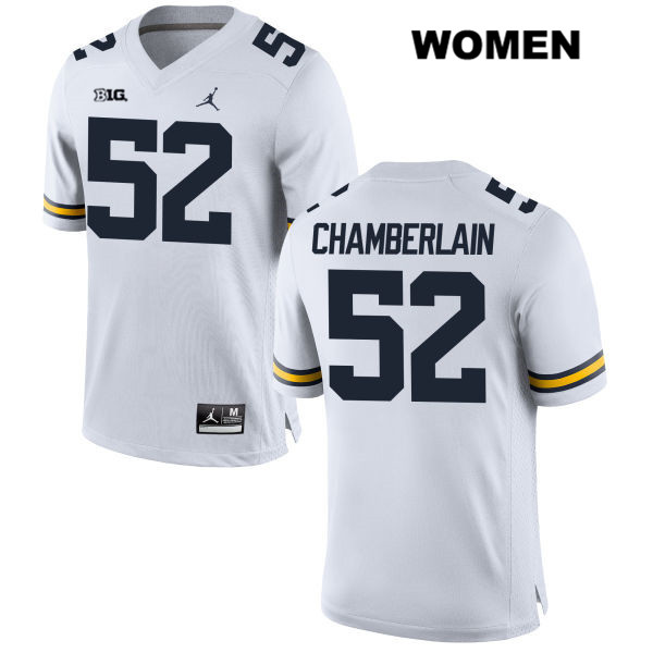 Jordan Womens Stitched no. 52 Michigan Wolverines White Bryce Chamberlain Authentic College Football Jersey - Bryce Chamberlain Jersey