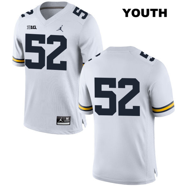 Youth Stitched no. 52 Michigan Wolverines White Jordan Bryce Chamberlain Authentic College Football Jersey - No Name - Bryce Chamberlain Jersey
