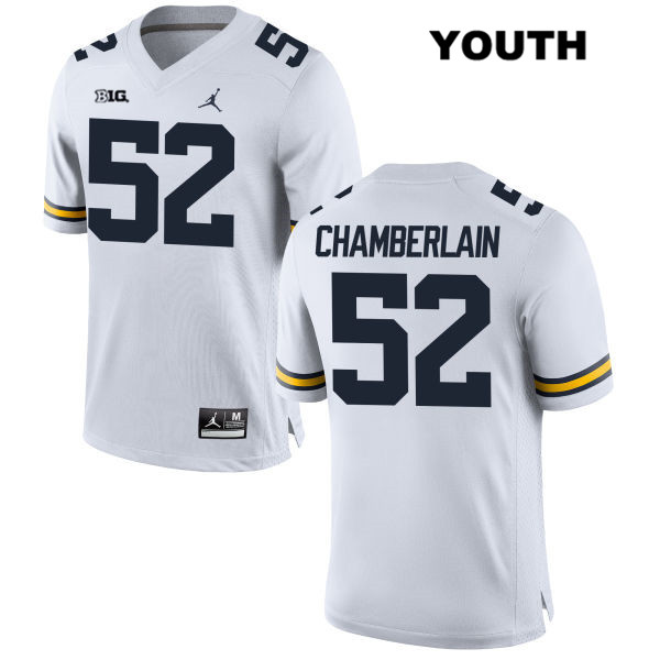 Youth Stitched no. 52 Michigan Wolverines Jordan White Bryce Chamberlain Authentic College Football Jersey - Bryce Chamberlain Jersey
