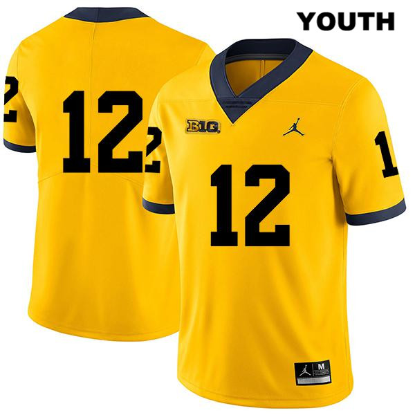 Youth no. 12 Michigan Wolverines Yellow Stitched Cade McNamara Jordan Legend Authentic College Football Jersey - No Name - Cade McNamara Jersey
