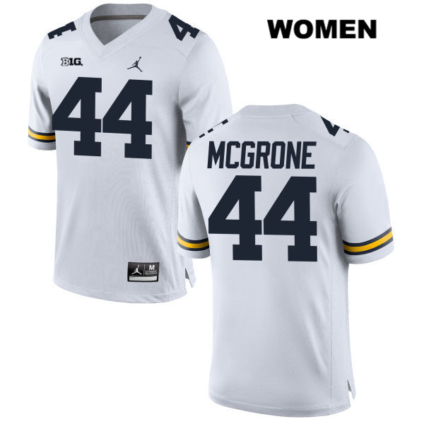 Womens Stitched no. 44 Michigan Wolverines White Cameron McGrone Jordan Authentic College Football Jersey - Cameron McGrone Jersey