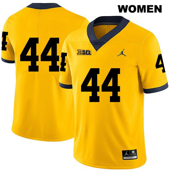 Womens no. 44 Michigan Wolverines Jordan Legend Yellow Cameron McGrone Stitched Authentic College Football Jersey - No Name - Cameron McGrone Jersey