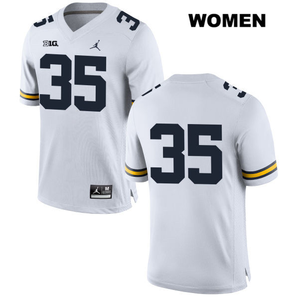 Womens no. 35 Michigan Wolverines White Jordan Casey Hughes Stitched Authentic College Football Jersey - No Name - Casey Hughes Jersey