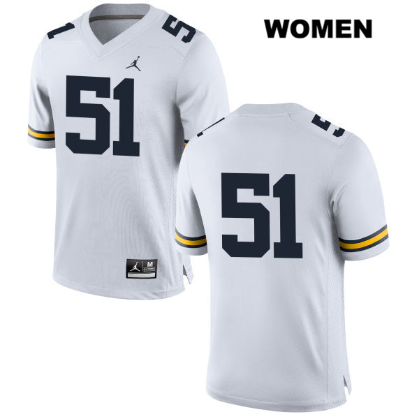 Womens no. 51 Michigan Wolverines White Jordan Cesar Ruiz Stitched Authentic College Football Jersey - No Name - Cesar Ruiz Jersey