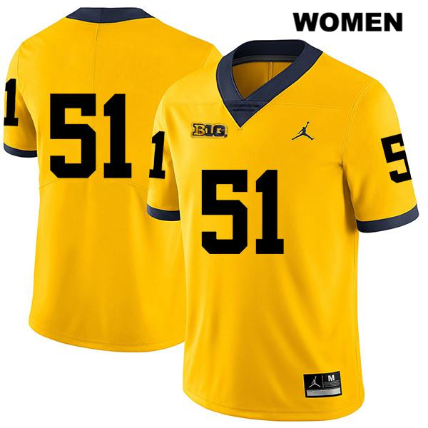 Womens Jordan Legend no. 51 Michigan Wolverines Stitched Yellow Cesar Ruiz Authentic College Football Jersey - No Name - Cesar Ruiz Jersey