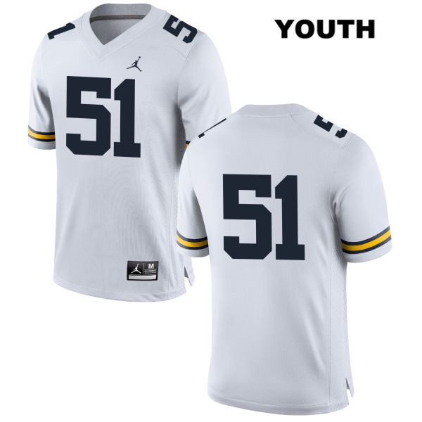 Youth no. 51 Jordan Stitched Michigan Wolverines White Cesar Ruiz Authentic College Football Jersey - No Name - Cesar Ruiz Jersey