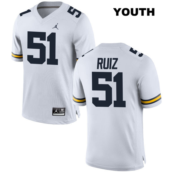 Youth Jordan Stitched no. 51 Michigan Wolverines White Cesar Ruiz Authentic College Football Jersey - Cesar Ruiz Jersey
