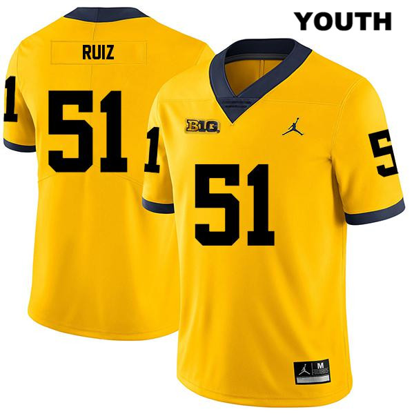 Youth Stitched no. 51 Michigan Wolverines Jordan Yellow Cesar Ruiz Legend Authentic College Football Jersey - Cesar Ruiz Jersey
