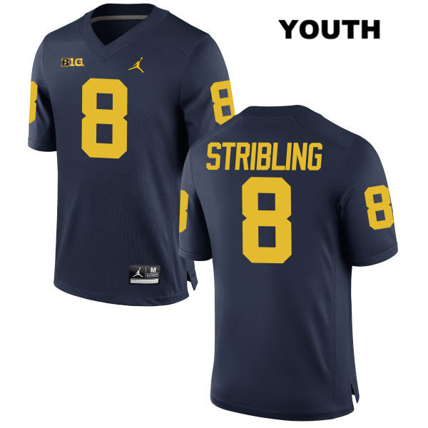 Youth no. 8 Jordan Michigan Wolverines Stitched Navy Channing Stribling Authentic College Football Jersey - Channing Stribling Jersey