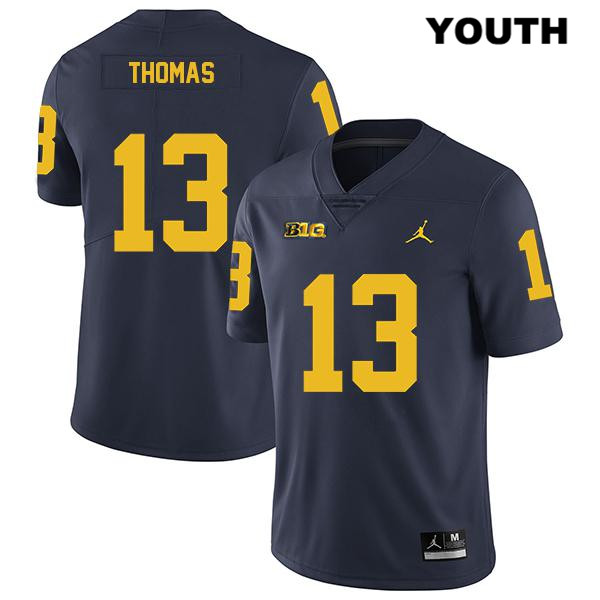Youth no. 13 Stitched Michigan Wolverines Legend Navy Charles Thomas Jordan Authentic College Football Jersey - Charles Thomas Jersey