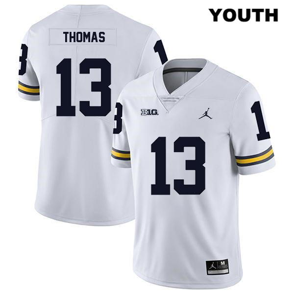 Stitched Youth no. 13 Legend Michigan Wolverines White Charles Thomas Jordan Authentic College Football Jersey - Charles Thomas Jersey