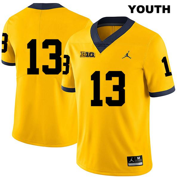Youth no. 13 Michigan Wolverines Yellow Legend Charles Thomas Stitched Jordan Authentic College Football Jersey - No Name - Charles Thomas Jersey