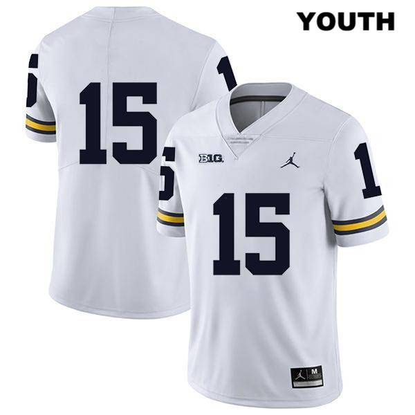 Youth no. 15 Stitched Jordan Michigan Wolverines White Legend Christopher Hinton Authentic College Football Jersey - No Name - Christopher Hinton Jersey