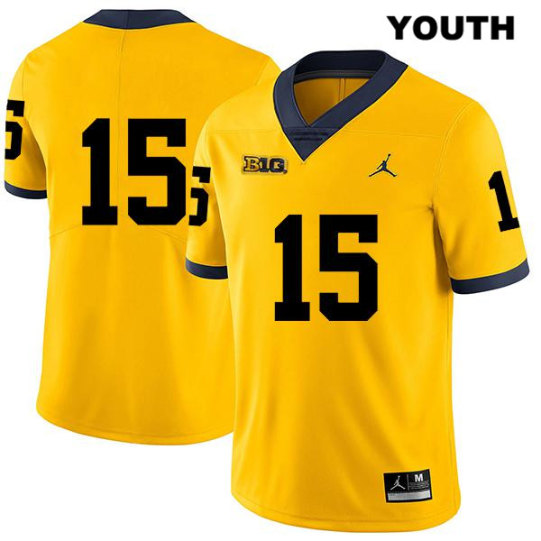 Youth no. 15 Jordan Stitched Michigan Wolverines Legend Yellow Christopher Hinton Authentic College Football Jersey - No Name - Christopher Hinton Jersey