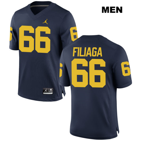 Mens Stitched no. 66 Michigan Wolverines Navy Jordan Chuck Filiaga Authentic College Football Jersey - Chuck Filiaga Jersey