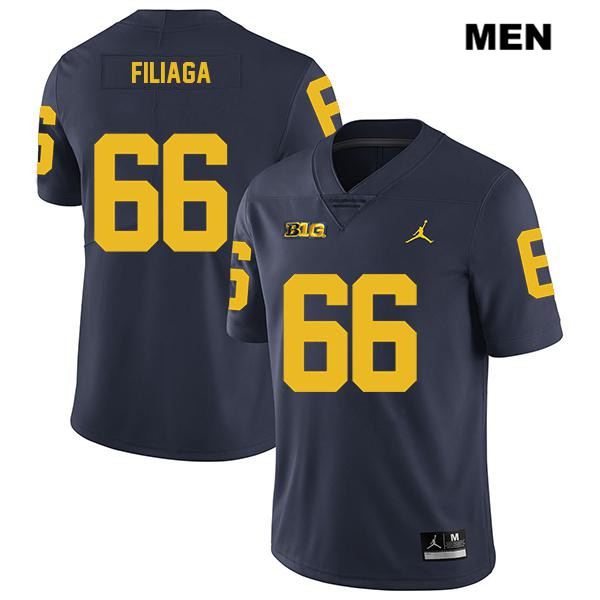 Mens Legend no. 66 Jordan Michigan Wolverines Navy Chuck Filiaga Stitched Authentic College Football Jersey - Chuck Filiaga Jersey
