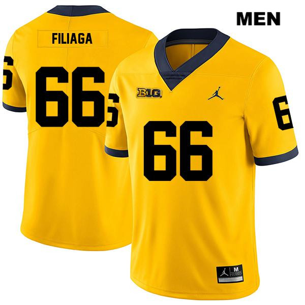 Mens Stitched no. 66 Michigan Wolverines Jordan Yellow Legend Chuck Filiaga Authentic College Football Jersey - Chuck Filiaga Jersey