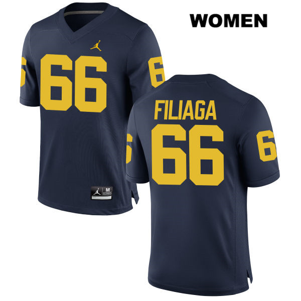 Stitched Womens no. 66 Michigan Wolverines Navy Chuck Filiaga Jordan Authentic College Football Jersey - Chuck Filiaga Jersey