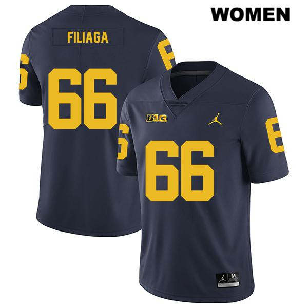 Womens no. 66 Michigan Wolverines Legend Jordan Navy Stitched Chuck Filiaga Authentic College Football Jersey - Chuck Filiaga Jersey