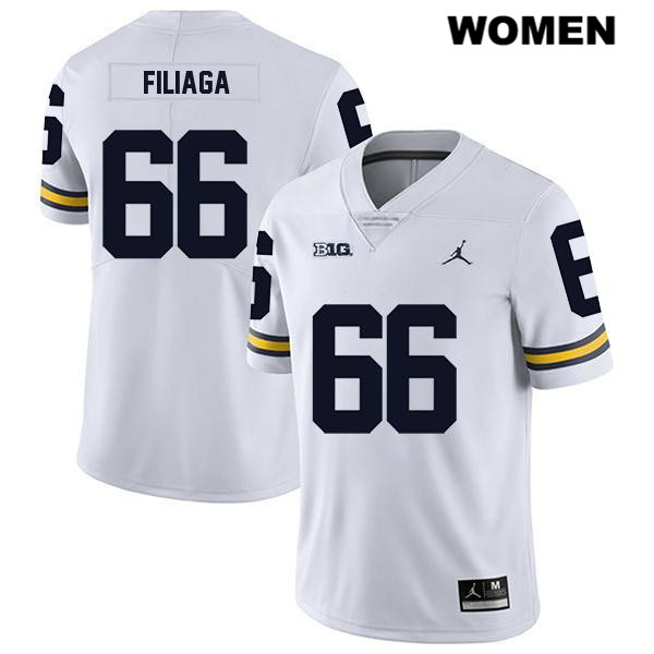Womens no. 66 Michigan Wolverines Legend White Stitched Chuck Filiaga Jordan Authentic College Football Jersey - Chuck Filiaga Jersey